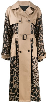 Frenken Leopard Print Panels Trench Coat