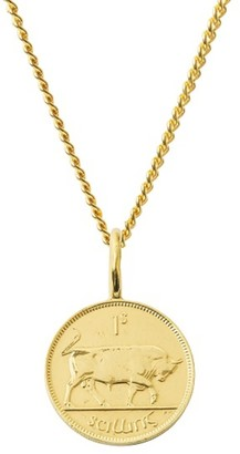 Katie Mullally Irish Shilling Coin Necklace In Yellow Gold Plate