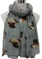 ABC Womens Scarf, Lady Womens Long Soft Cute Pug Dog Print Scarf Shawl Wraps