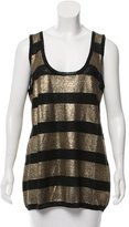 Tory Burch Sleeveless Metallic Linen Top