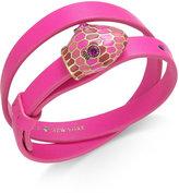 Kate Spade Gold-Tone Crystal and Enamel Snake Head Leather Wrap Bracelet