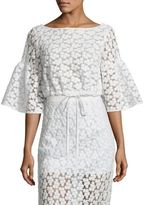 Milly Lydia Floral Embroidered Bell Sleeve Top