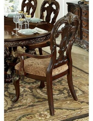 Williams Upholstered Queen Anne Back Arm Chair in Brown Astoria Grand