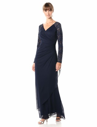 Alex Evenings Women's Long Evening Gown with Illusion Sleeves Dress