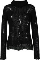 Nude distressed roll neck sweater - women - Wool - 42