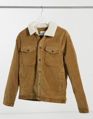 Celio trucker jacket with borg collar in tan
