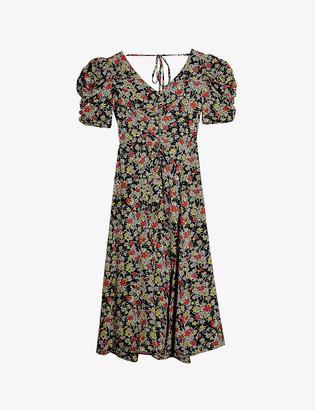 Topshop Puffed-sleeve floral-print midi dress