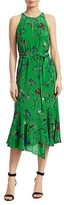 Derek Lam Floral Silk Sleeveless Ruffled Dress