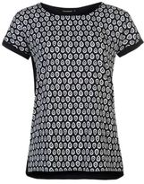 Full Circle Womens Print Turn Up Cuff Top Lightweight Short Sleeve Round Neck