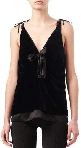 Altuzarra Gemme Velvet & Satin Tie-Shoulder Top, Black