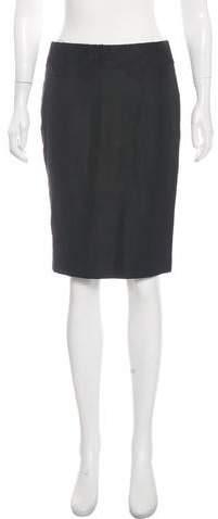 Versace Leather Trim Knee-Length Skirt