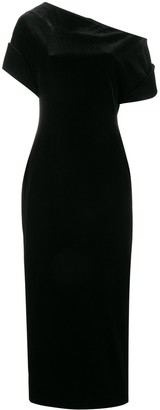 Christopher Kane Stretch Velvet One-Shoulder Dress