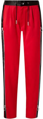 Marques Almeida Zip-detailed Wool-sateen Straight-leg Pants