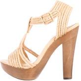 Rachel Zoe Straw T-Strap Sandals