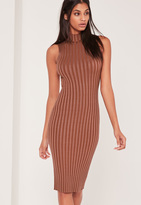 Missguided Extreme Ribbed Knit Midi Dress Pink