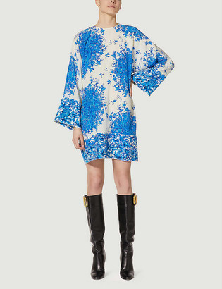 Valentino Floral-print faille kimono mini dress