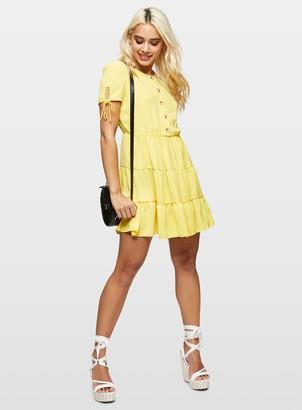 Miss Selfridge PETITE Yellow Tiered Smock Dress