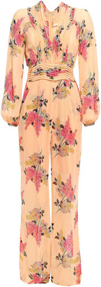 By Ti Mo Pleated Floral-print Crepe Jumpsuit