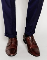 Asos Derby Shoes In Brown Leather - Brown