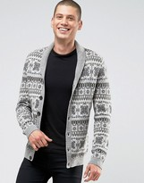 Asos Lambswool Rich Shawl Cardigan with All Over Fairisle