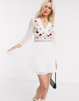 ASOS DESIGN lace insert pleated mini dress with embroidery in white