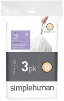 Simplehuman Three Pack 20 Custom-Fit Trash Can Liners-Code Q