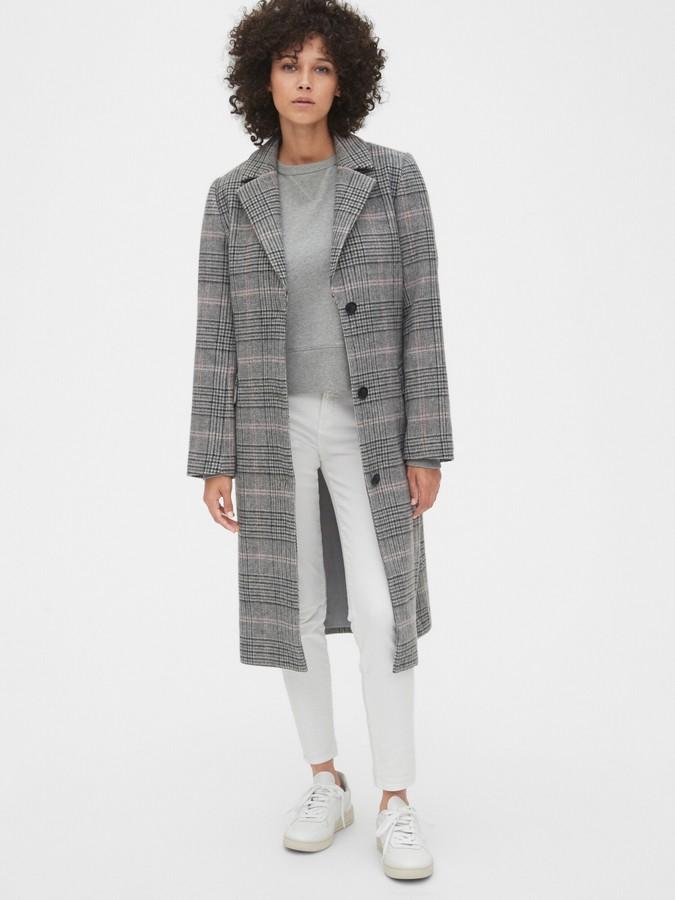 Gap Plaid Longline Wool-Blend Coat