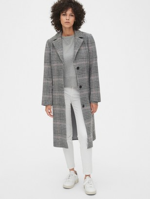 Gap Plaid Longline Wool-Blend Coat