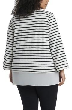 Vince Camuto Women's Plus Size Long Sleeve Stripe Tunic
