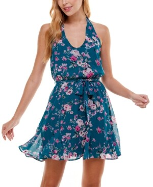 City Studios Juniors' Floral-Print Halter Fit & Flare Dress