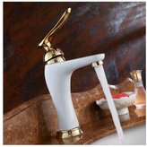 CA Faucet Fx@ Bathroom Basin Faucet Deck Mount Grilled white paint golden Brass Hot and Cold Sink Mixer Taps
