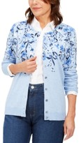 Karen Scott Placed-Print Cardigan, Created For Macy's