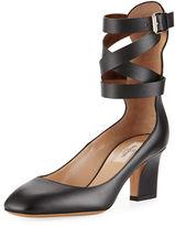 Valentino Garavani Plum Leather Back-Zip Ankle-Wrap Pump