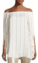 Halston Striped Tie-Sleeve Off-the-Shoulder Top, Tan