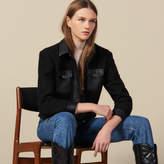 Tweed jacket with leather trim