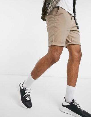 Asos Design DESIGN slim chino shorts in stone