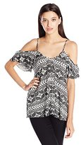 Lucy-Love Lucy Love Women's Printed Hollie Cold Shoulder Top