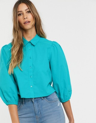 Neon Rose vintage blouse with balloon sleeves