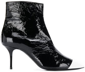 MSGM Two-Tone Crinkled Ankle Boots