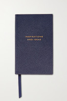 Smythson Panama Inspirations And Ideas Textured-leather Notebook - Navy