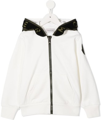 Moncler Enfant Logo Embroidered Zip-Front Hoodie