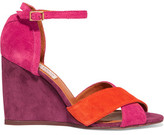 Lanvin Color-Block Suede Wedge Sandals