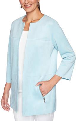 Ruby Rd. Women's Open Cardigans AQUA - Aqua Matte Three-Quarter Sleeve Zip-Pocket Open Jacket - Women & Plus