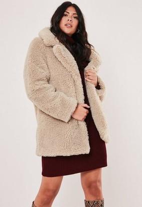 Missguided Plus Size Beige Faux Fur Coat