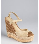 Gucci nude guccissima suede and cork wedge sandals