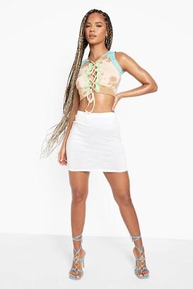boohoo Space Dye Stripe Tube Print Mini Skirt