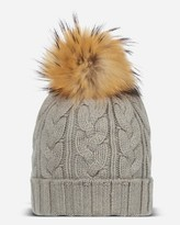 N.Peal Chunky Cable Cashmere Hat With Raccoon Pom