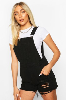 boohoo Fray Hem Denim Dungaree Shorts