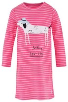 Joules Pink Neon Stripe Jersey Dog Applique Dress