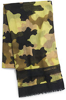 Michael Kors Kala Camouflage Modal And Silk-Blend Scarf